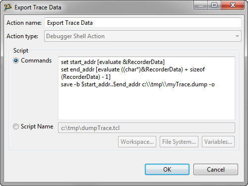 Export Trace Data with Debugger Action