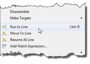 Run to Line Context Menu