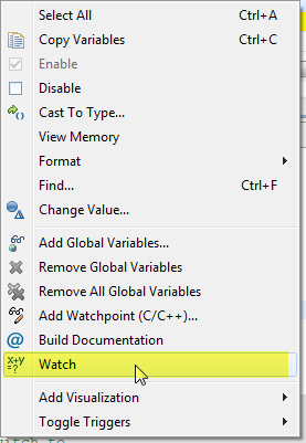 Watch Context Menu in Variables View