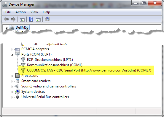 CDC Serial Port in Device Manager