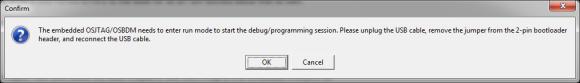 Dialog to enter run mode