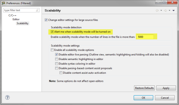 Eclipse Scalability Settings