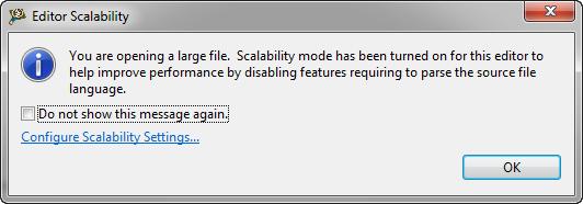 Editor Scalability Dialog