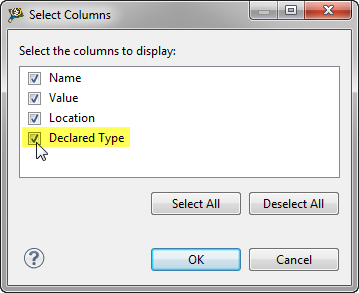 Enabling Declared Type for Variables View