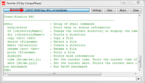 FatFs Application on K60 with serial bridge on COM37