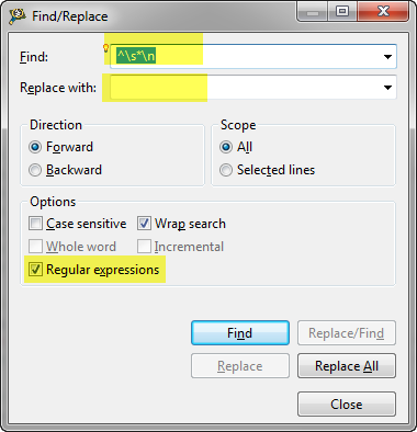 Regular Expression to Remove Empty Lines