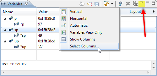 Select Columns in Variable View