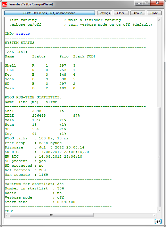Shell Output with FreeRTOS Tasks and Performance