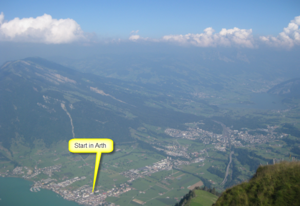 View from the top of the mountain to the start area in Arth