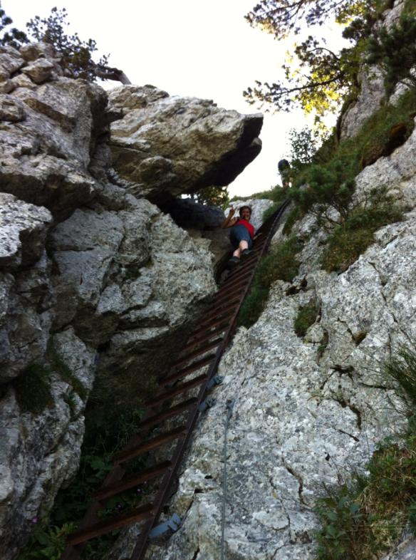 Steel stairway climbing on last 25 meters on the way to the peak