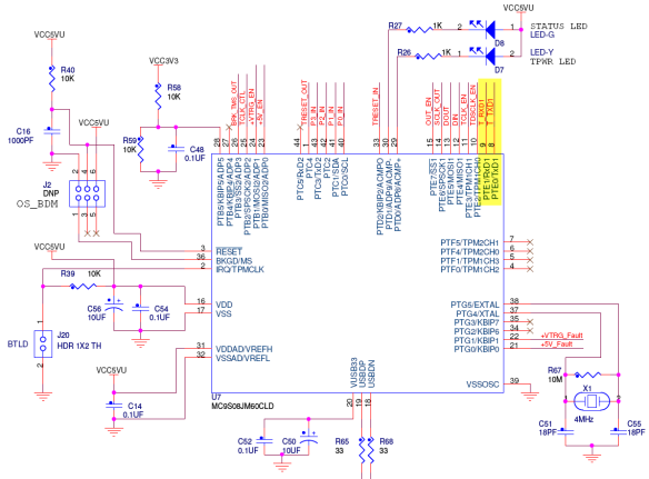 TX and RX on OSBDM JM60 (Source: Freescale, TRW-MCF52259 Schematics)