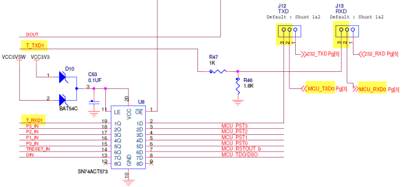 TXD and RXD jumpers on TWR-MCF52259 Board (Source: Freescale, TWR-MCF52259 Schematics)