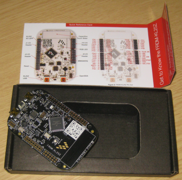 Box with board and Get-to-Know-the-FRDM-KL25Z card