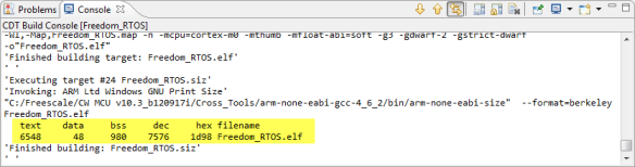 Code and Data Size for RTOS plus Application