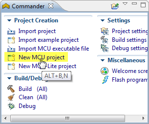 Commander view to create new project