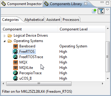 FreeRTOS in Components Library view