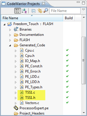 Generated TSS Driver Code with TSS Files