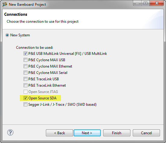 OpenSDA Debug Connection in CodeWarrior