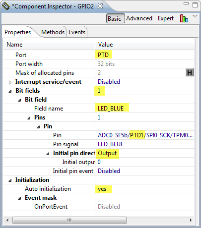 Settings for Blue LED