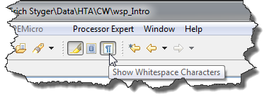 Show White-Space Characters Toolbar Button