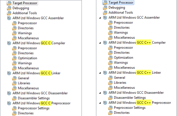 C (left) and C++ (right) Build Panels