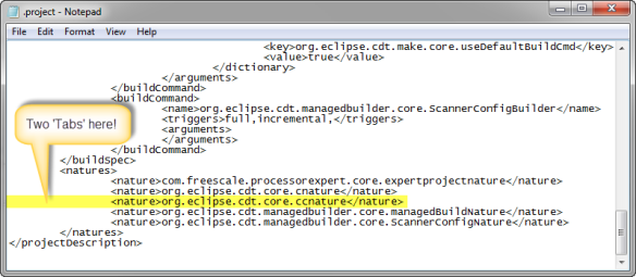 org.eclipse.cdt.core.ccnature added to the .project file