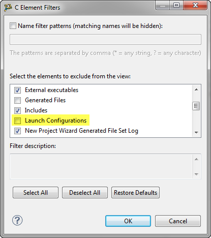 Disabled Filter for Launch Configurations