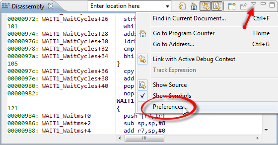 Disassembly View Preferences
