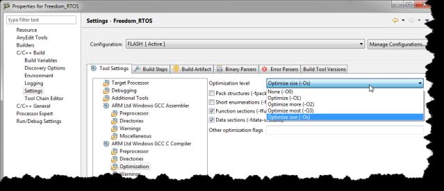 Forcing/Checking Kinetis Compiler Optimization Level   MCU on Eclipse