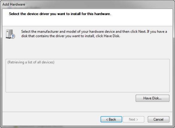 Have Disk to Add Hardware