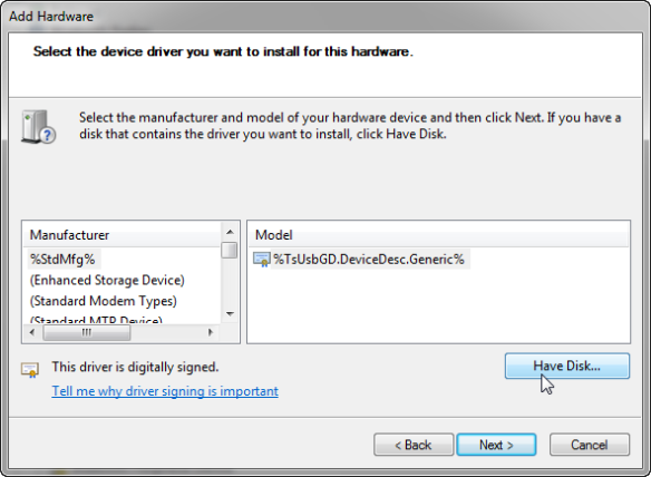 Have Disk to select device