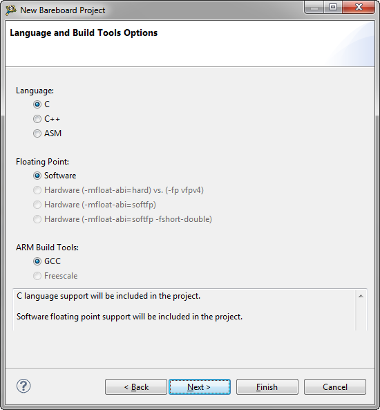 Language and Build Tools Options
