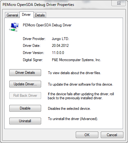 PEMicro OpenSDA Debug Driver Details