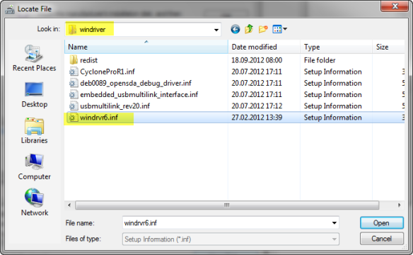 Selecting Windriver File