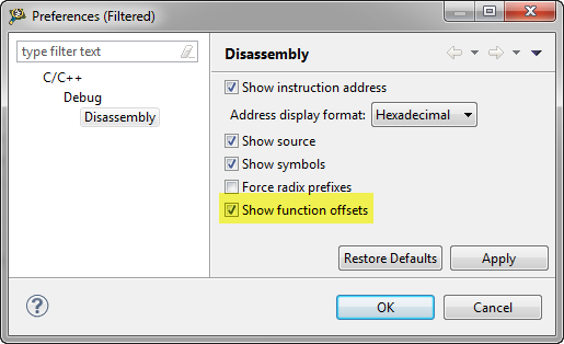 Show Functions with Offset
