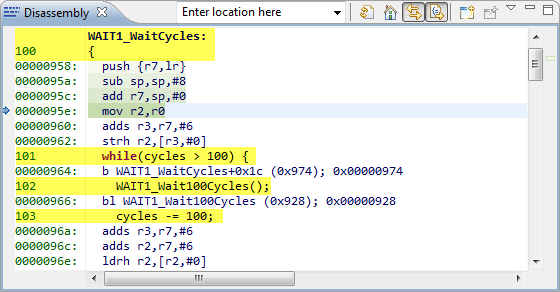 Source in Disassembly View (Interleaved/Mixed)