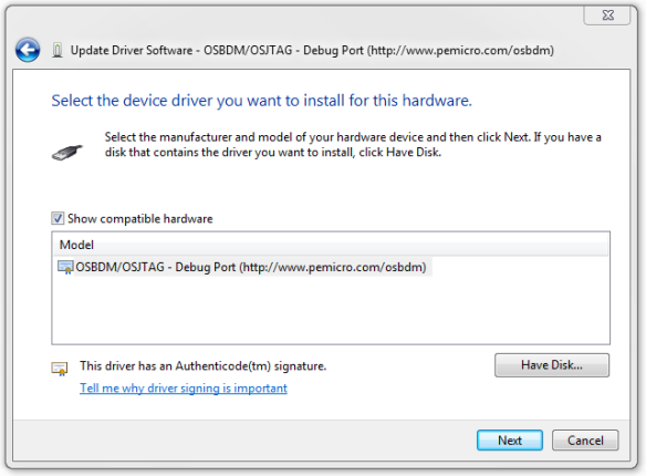 Update Driver with hardware selected