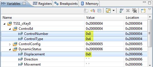 Variables shown in hexadecimal format