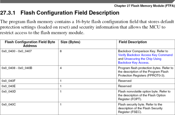 Flash Configuration Field Description (Source: Freescale KL25Z Reference Manual)