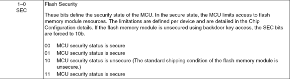 Flash Security (Source: Freescale KL25Z Reference Manual)