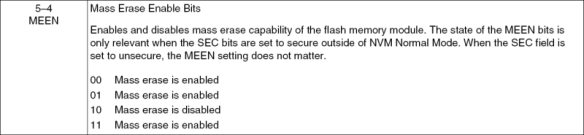 Mass Erase Enable Bits (Source: Freescale KL25Z Reference Manual)