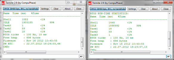 Side by side shell with COM36 on OpenSDA and on COM22 with native KL25Z USB CDC