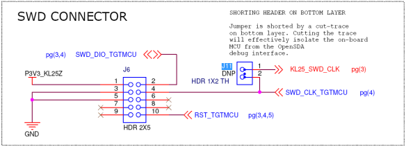 SWD Connector with J11 (Source: Freescale FRDM-KL25Z Schematics)