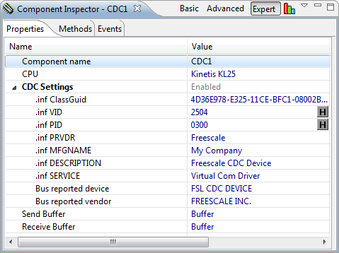 USB CDC Device Properties