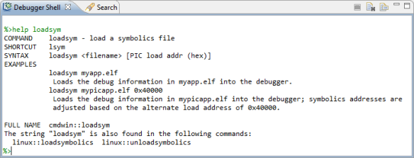 Debugger Shell with help on loadsym