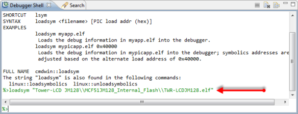 Loading Symbolics with the Debugger Shell