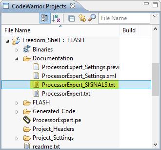 Processor Expert Signals Text File