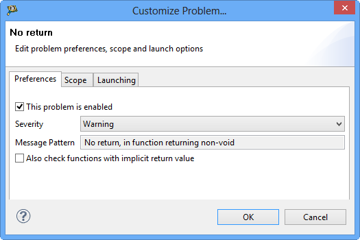 Preferences for problem checking