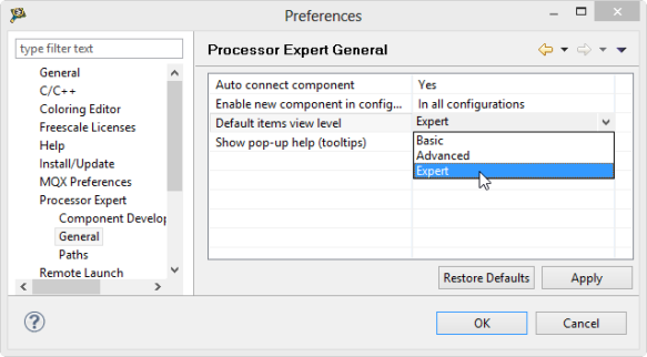 Processor Expert General Settings