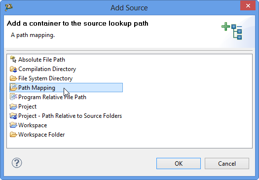 Add a container to the source lookup path